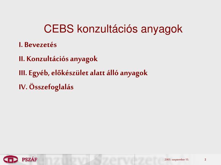 CEBS konzultációs anyagok