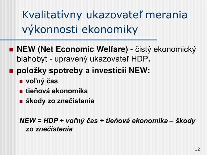 Kvalitatívny ukazovateľ merania výkonnosti ekonomiky