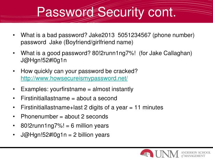 Password Security cont.