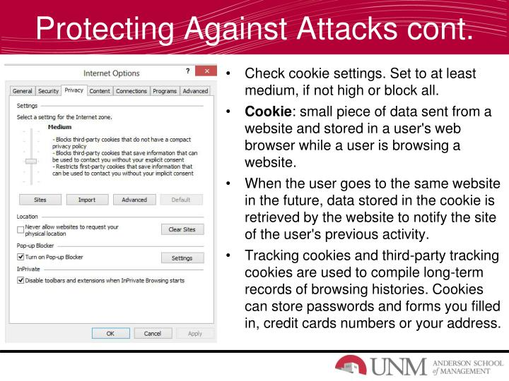 Protecting Against Attacks cont.