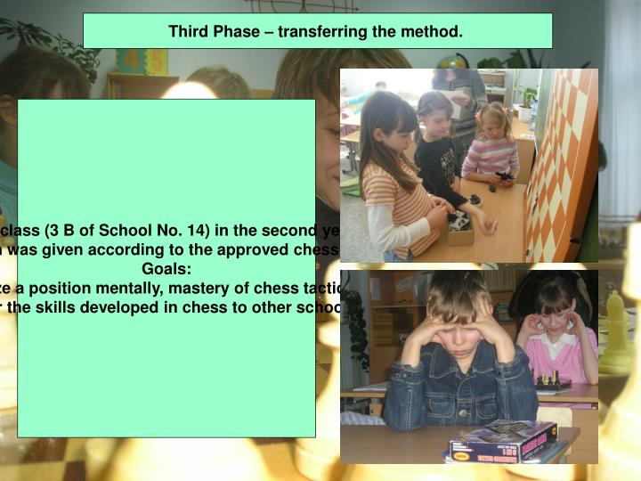 Third Phase – transferring the method.