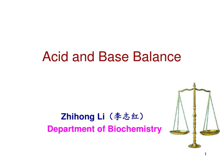 Acid and base balance