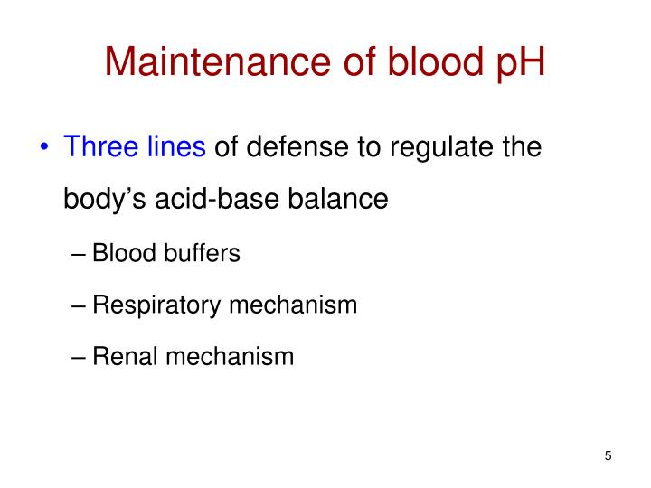 Maintenance of blood pH