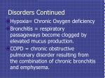disorders continued