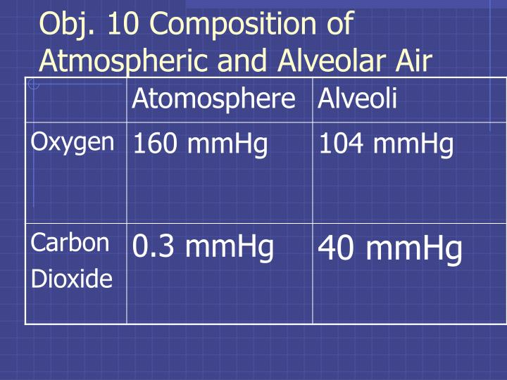 Obj. 10 Composition of Atmospheric and Alveolar Air