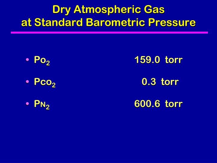 Dry atmospheric gas at standard barometric pressure