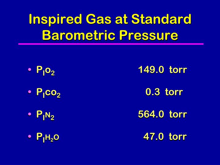 Inspired Gas at Standard Barometric Pressure
