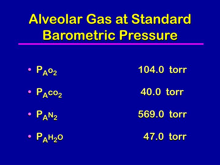 Alveolar Gas at Standard Barometric Pressure