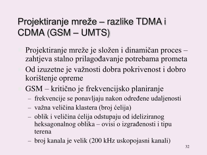 Projektiranje mreže – razlike TDMA i CDMA (GSM – UMTS)