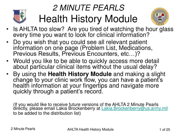 2 minute pearls health history module