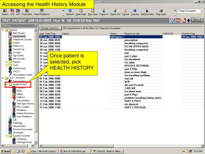 Accessing the health history module
