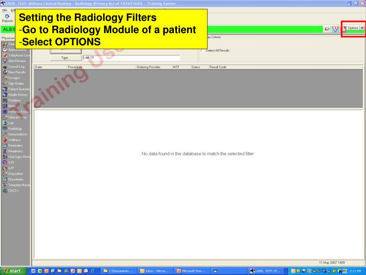 Setting the Radiology Filters