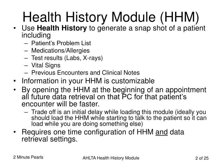 Health History Module (HHM)