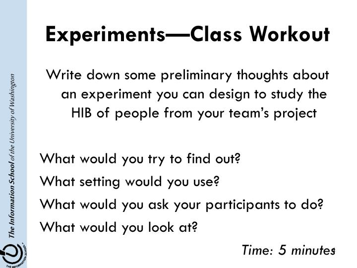 Experiments—Class Workout