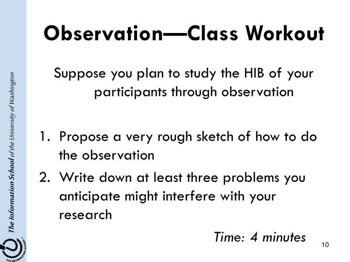 Observation—Class Workout