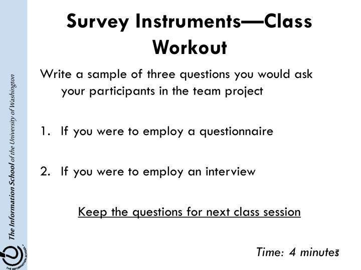 Survey Instruments—Class Workout