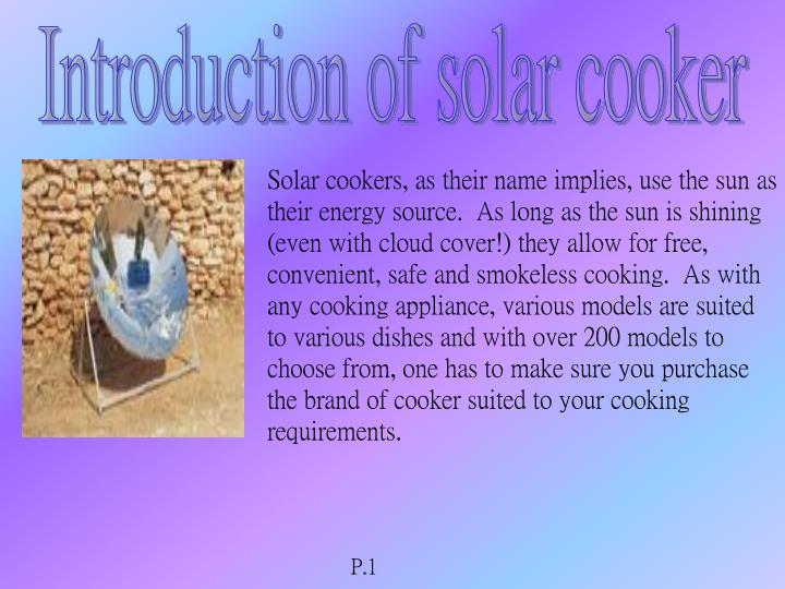 Introduction of solar cooker