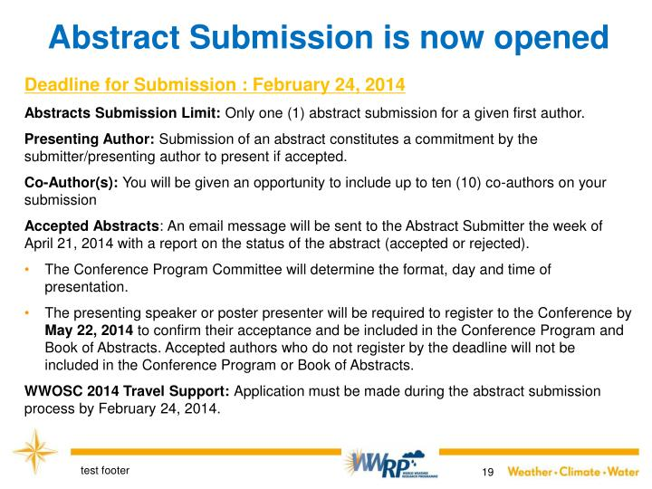 Abstract Submission is now opened