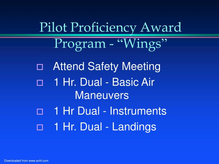 Pilot Proficiency Award Program -