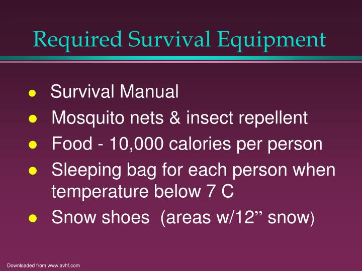 Required Survival Equipment
