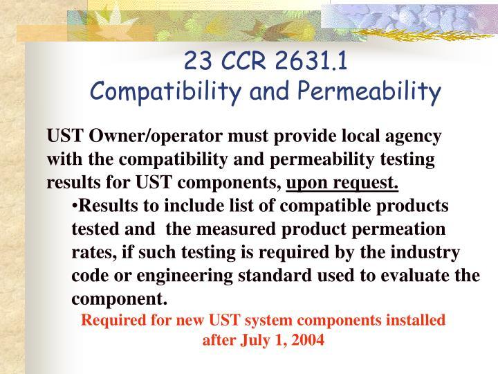 23 CCR 2631.1