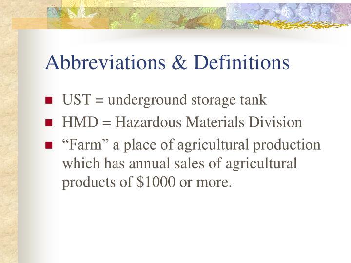 Abbreviations & Definitions