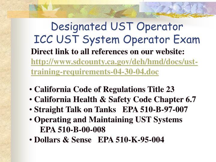 Designated UST Operator