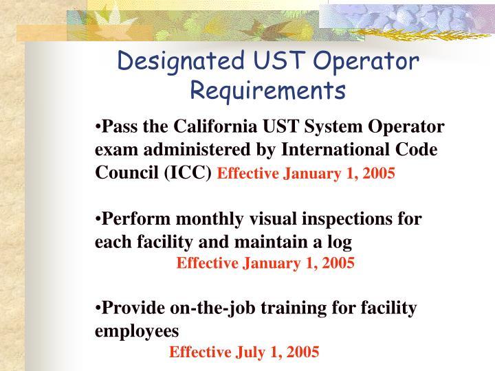 Designated UST Operator  Requirements
