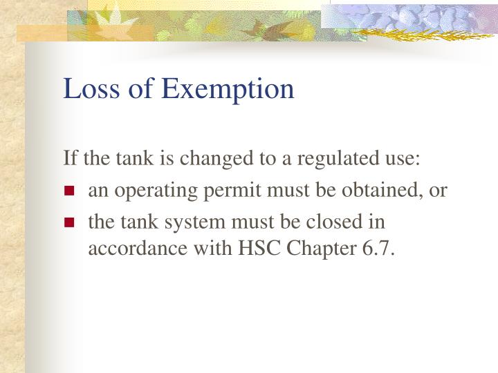 Loss of Exemption