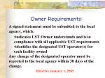 owner requirements