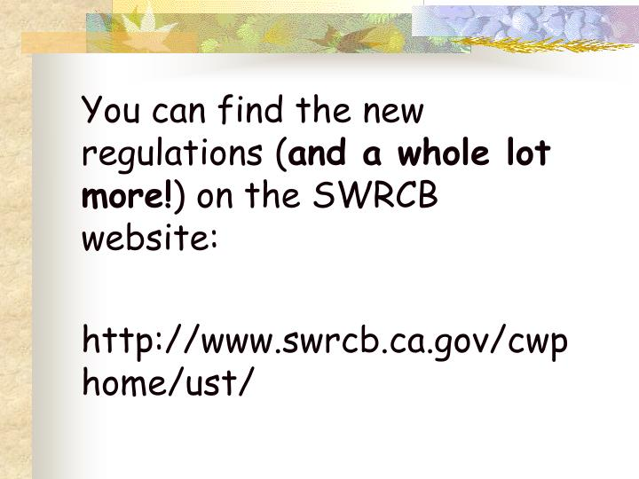 You can find the new regulations (