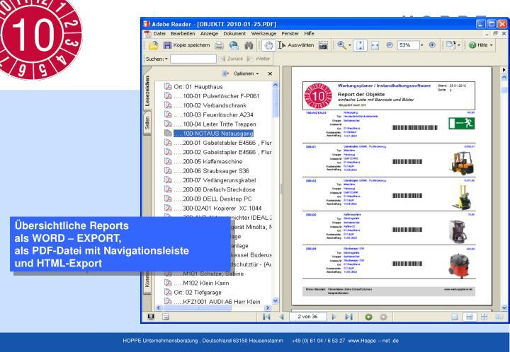 Übersichtliche Reports
