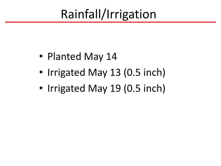 Rainfall/Irrigation