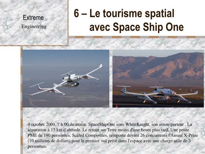6 – Le tourisme spatial