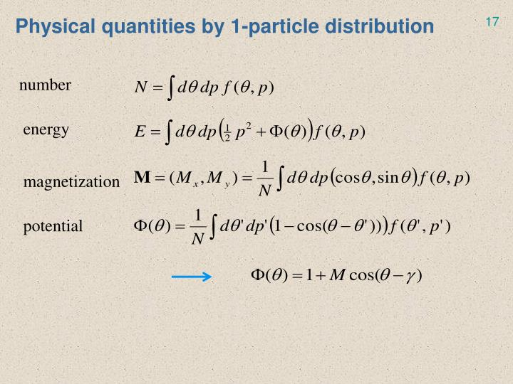 Physical quantities by 1-particle distribution