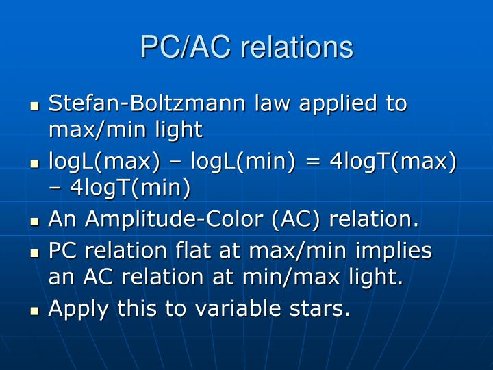 PC/AC relations