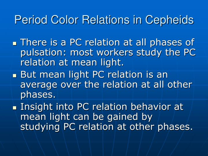 Period Color Relations in Cepheids