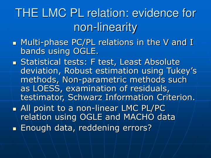 THE LMC PL relation: evidence for non-linearity