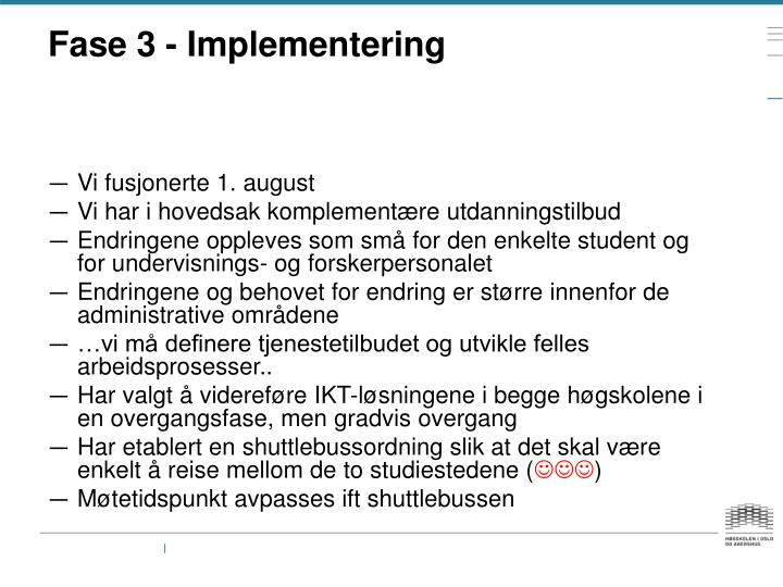 Fase 3 - Implementering