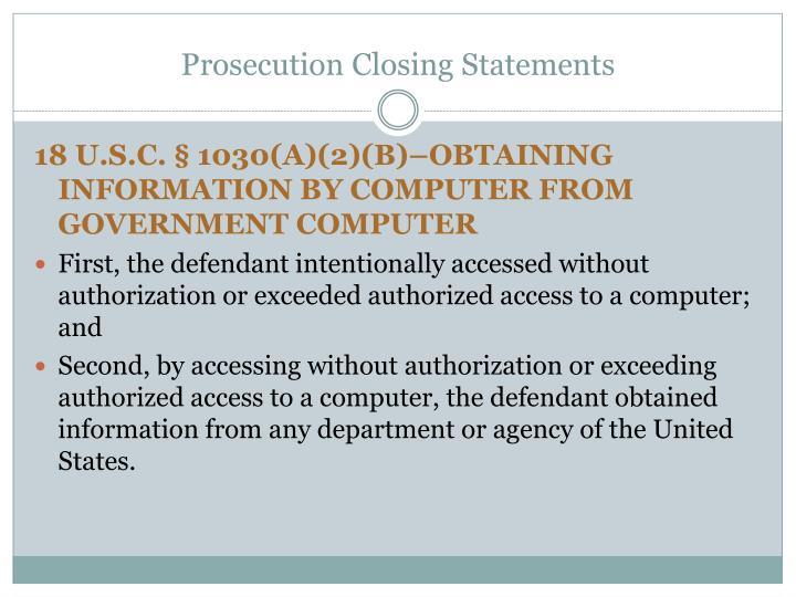 Prosecution Closing