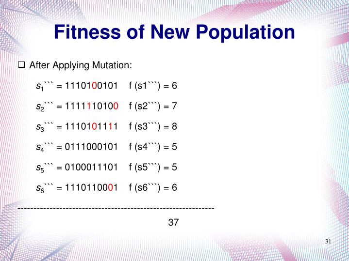 Fitness of New Population