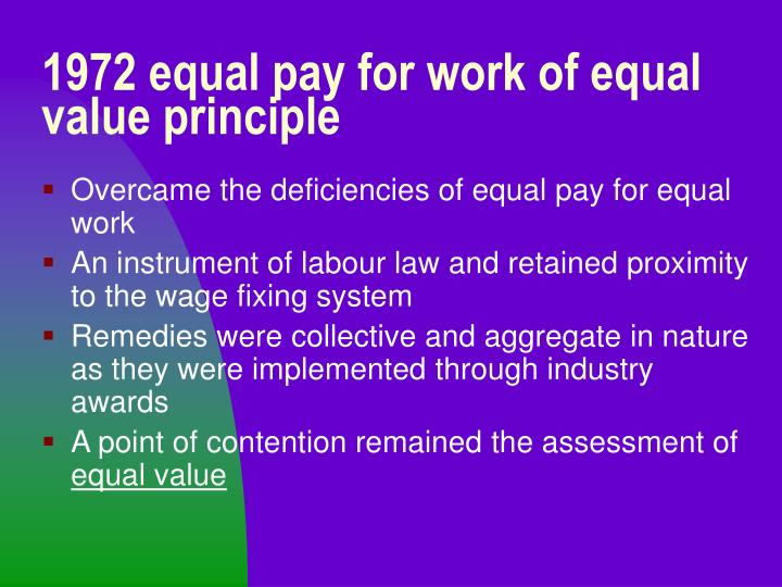 1972 equal pay for work of equal value principle