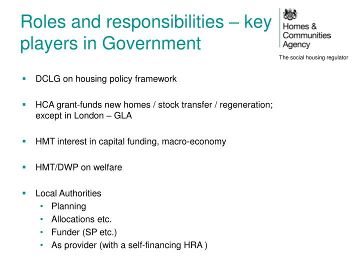 Roles and responsibilities – key players in Government