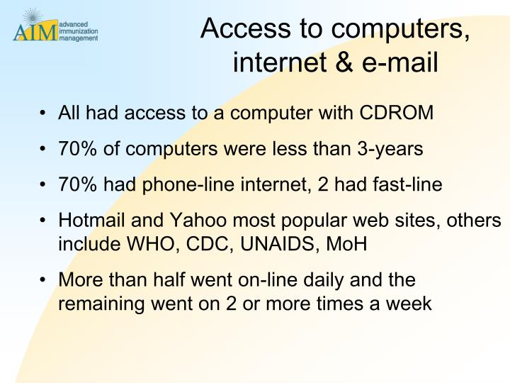 Access to computers, internet & e-mail
