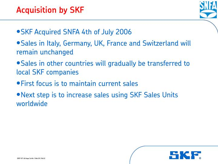 Acquisition by SKF