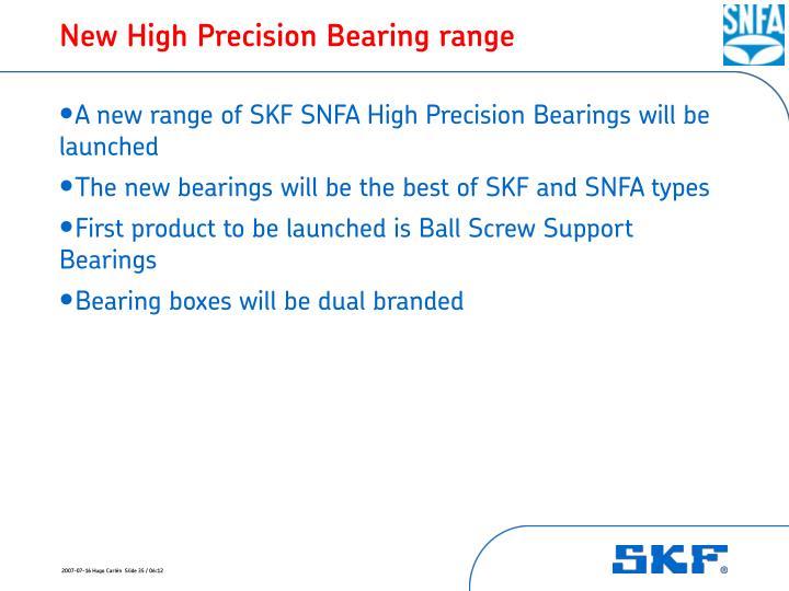 New High Precision Bearing range
