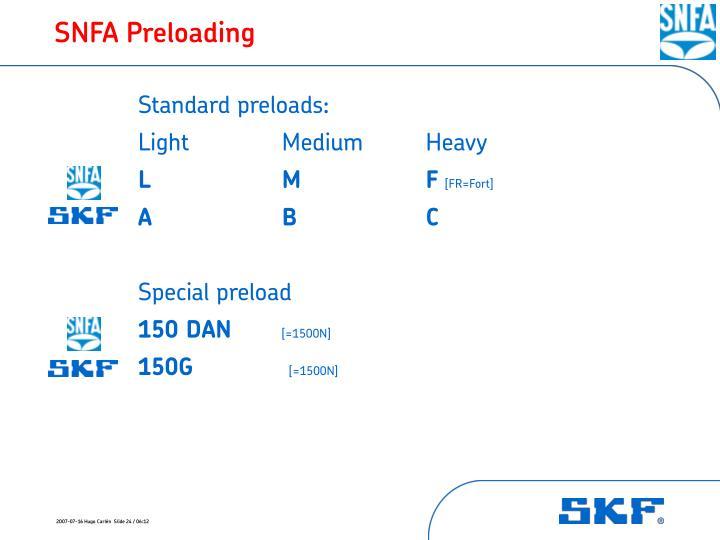 SNFA Preloading