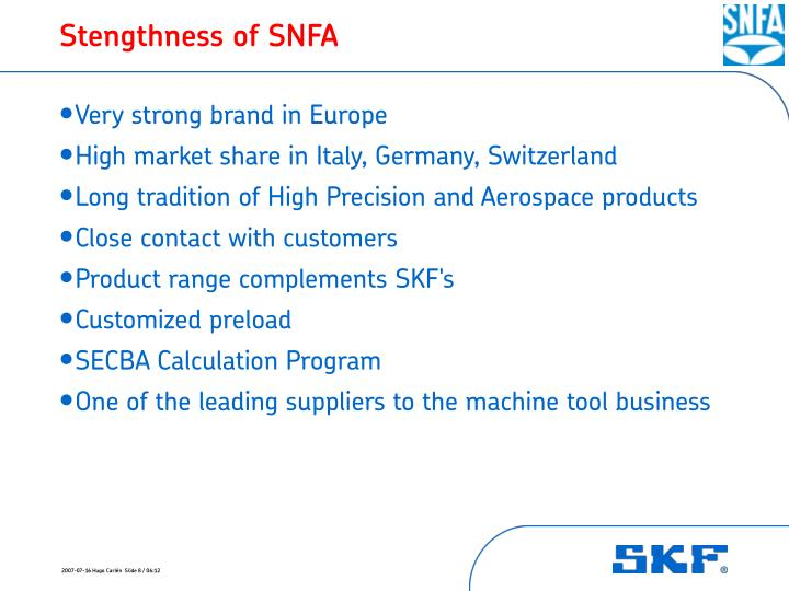 Stengthness of SNFA