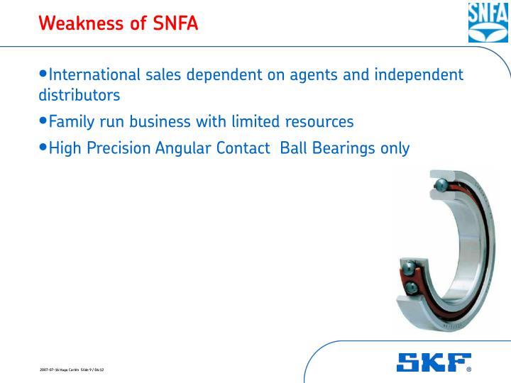 Weakness of SNFA