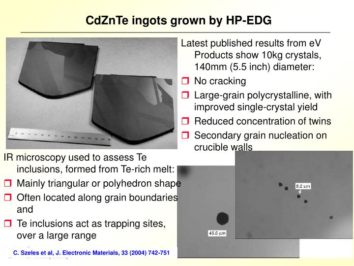 CdZnTe ingots grown by HP-EDG